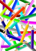 Colorful pencils chaos backgound — Stock Photo