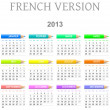 Stock Photo: 2013 crayons calendar french version