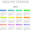 Stock Photo: 2013 crayons calendar english version