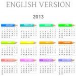 2013 crayons calendar english version — Stock Photo #10746613