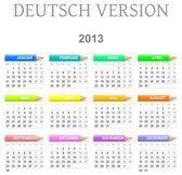 2013 crayons calendar deutsch version — Stock Photo