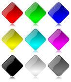 Set di pulsanti rombo colorata e lucida — Foto Stock