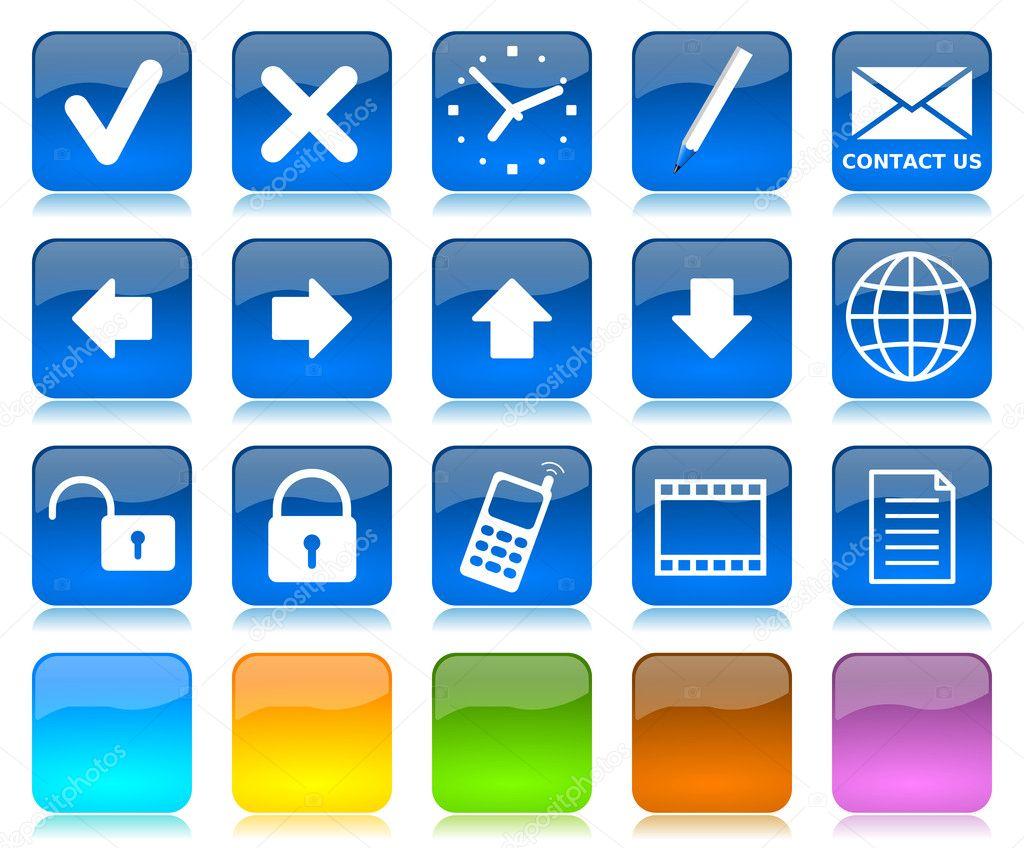 白色在蓝色光泽互联网图标系列和五颜色空白可自定义