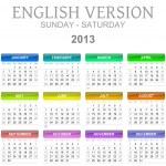 2013 calendar english version sun - sat — Stock Photo #12336633