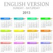 Stock Photo: 2013 crayons calendar english version sun - sat