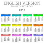 2013 calendar english version sun - sat — Stock Photo
