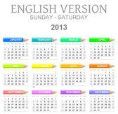 2013 crayons calendar english version sun - sat — Stock Photo