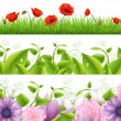 Borders With Flowers And Grass — Stock Vector