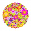 Circle Of Flowers — Stock Vector