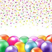 Ballonnen en confetti — Stockvector