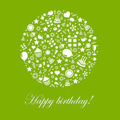 Green Happy Birthday Card — Vetor de Stock