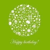 Zielony szczęśliwy urodziny — Wektor stockowy