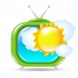 Retro Tv Set With Sun And Clouds — Stock Vector