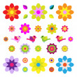 Set Of Different Flowers And Birds — Imagen vectorial