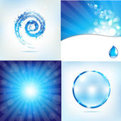 Blue Water Background Set — Stock Vector