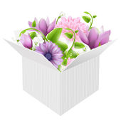 White Box With Spring Flowers — Stock Vector