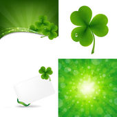 Green Set With Clover — Stock Vector