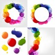dialog balloon and color neon blobs set — Stock Vector