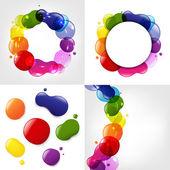Diálogo del globo y color neón blobs conjunto — Vector de stock