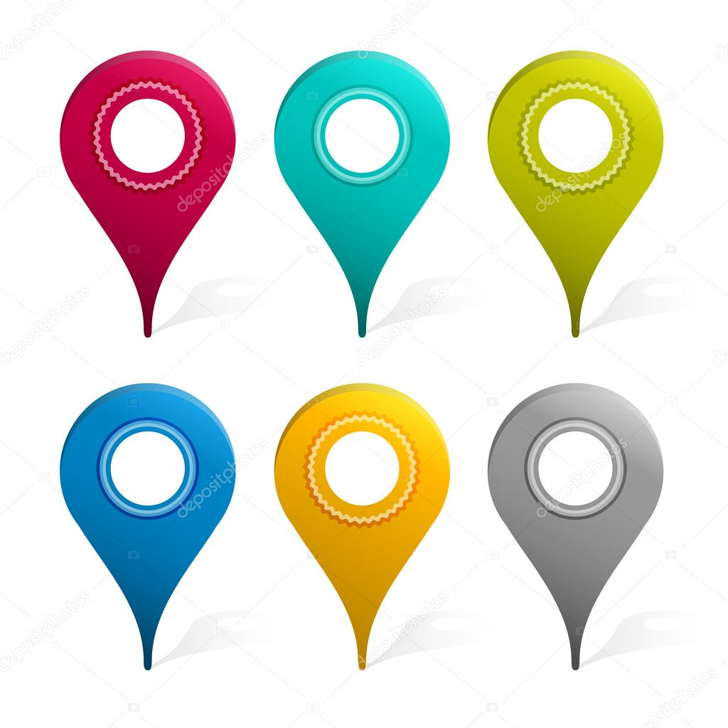 Set Of Mapping Pins Icon, Isolated On White Background, Vector Illustration — Stock Vector #11746069