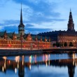 Night view on Christiansborg Palacel in Copenhagen - 图库照片