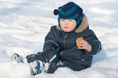 Snacking on the snow — Stock Photo