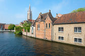 Wonderful view on a channel in Brugge — Stock Photo
