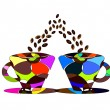 Pair of cups of coffee - Stock Vector