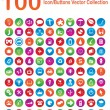 100 Icon/Buttons Vector Collection — Vettoriali Stock