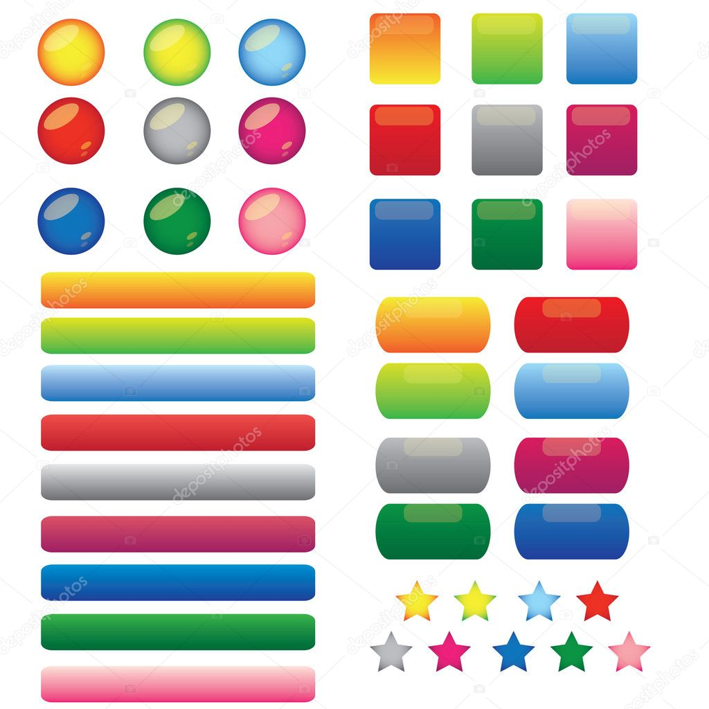 This is a set of vector blank web color buttons.  — Stock Vector #11366997