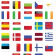 Glossy Europe Vector Flags — Stock Vector
