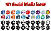 3D Social Media Icons — Stock Vector