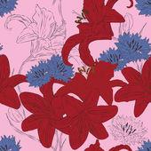 Bezszwowe tło z jasnych kwiatów lilii i chabry — Wektor stockowy