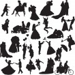 Stock Vector: Silhouettes of wedding couples in different situations