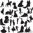 Silhouettes of wedding couples in different situations - Stock Vector