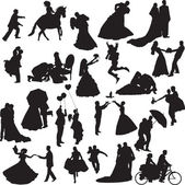 Silhouettes of wedding couples in different situations — Stock Vector