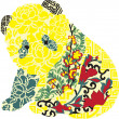 Panda in Chinese ornament — Imagen vectorial