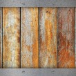Wooden boards with metal plates — Stock Photo