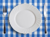 Lined dinner cloth — Stock Photo