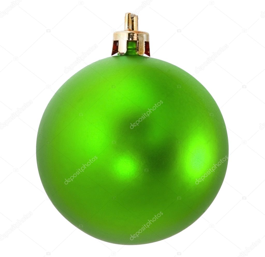 Green christmas holiday ball on white background — Stock Photo #12340425