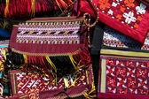Handmade decorative bags with traditional ornament — Stock Photo