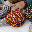 3 skull-caps. Turkmenistan. Ashkhabad market. — Stock Photo