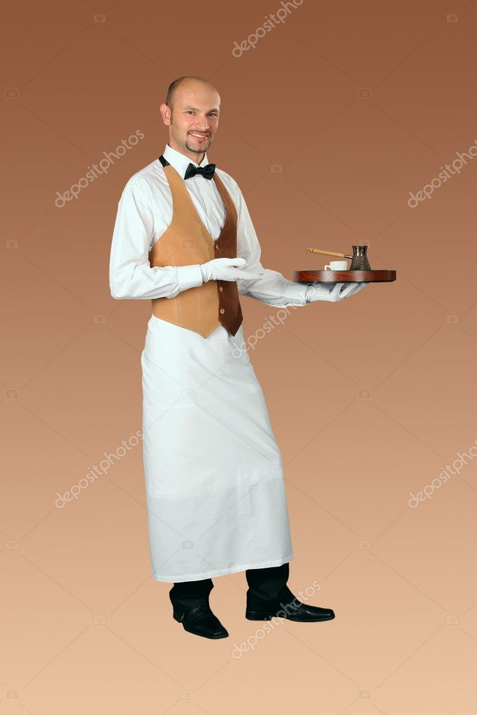 Waiter in uniform with  coffeepot and cup of coffe on the tray  — Stock Photo #10929662