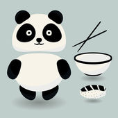 Panda and food — Stock Vector