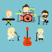 Pixel rock band — Stock Vector