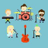 Pixel rock band — Stock Vector