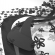 图库照片: Dynamic abstract composition with black flowers