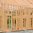 Building site of a wooden house — Stock Photo
