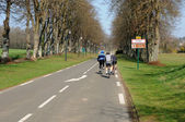 Cyclists on a country road in Val d Oise — Stok fotoğraf