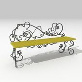 Wrought-iron bench with squirrel — Stock Photo
